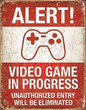 A3 Retro Warning Tin Metal Sign 'alert - Video Games' 41x32cm Vintage LOOK