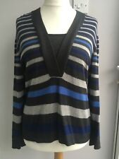 Lovely ladies soft angora mix jumper Alex & Co 16  Blue & Grey stripes VGC