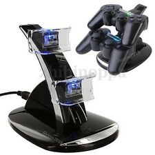 LED Dual Gamepad Docking Charger Stand Station For Sony PS3 Wireless Controller