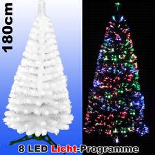 LED Weihnachtsbaum WEISS 180 cm Tannenbaum farbwechselnde Glasfaser Fiberoptik