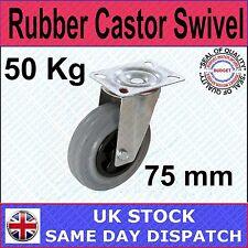 FIXMAN Rubber Castor Swivel 75mm 50kg Ironmongery Castors-234808