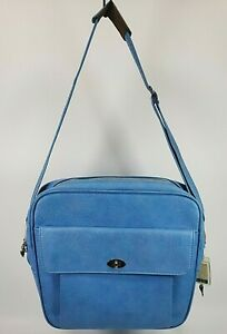Vintage Samsonite Silhouette Blue Travel Bag Carry On Overnight Luggage Tote GUC