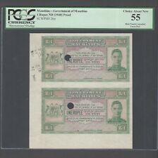 Mauritius Uncut Pairs One Rupee ND(1940) P26p  Proof About Uncirculated