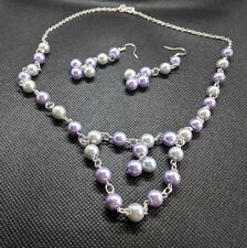 Lavender & Grey Pearl Necklace Earrings Silver Wedding Bridesmaid Jewellery Set