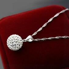 2 pcs Rhinestone Gift Necklace Crystal Pendant Silver Plated
