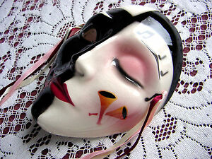 CLAY ArT DeCo Jester ~ Pierrot Lady Face ~ MuSiC NoTes Wall Hanging Mask Decor