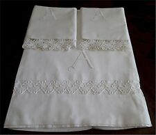 Lovely Vintage White Cotton Bed Sheet Pillow Cases Fancy A Embroidered Monogram