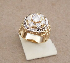 Men's Yellow Gold Rhodium Plated 7 Clear CZ Nugget Cluster Ring Size 10 New