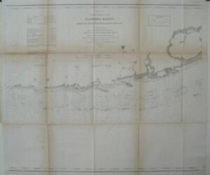 Original 1863 US Coast Survey Map FLORIDA REEFS Key Largo Long Island Matecumbe