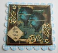 PK 2 STEAMPUNK BALLOON FATHERS DAY EMBELLISHMENT TOPPERS FOR CARDS AND CRAFTS