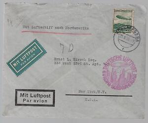 1936 Nuremburg Germany Hindenburg Zeppelin LZ 129 cover to USA