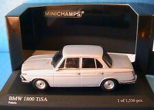 BMW 1800 TISA 1965 POLARIS SILVER MINICHAMPS 400 025100 1/43 SILBER ARGENT GREY