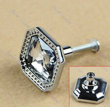 Square Cabinet Knob  Crystal Glass Cupboard Drawer Door Wardrobe Pull Handle New