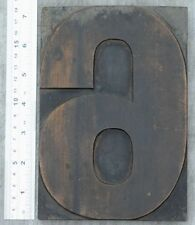 "huge number ""6"" letterpress wood block rare wonderful patina alphabet antique"