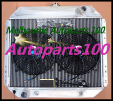 For FORD radiator + two fans F100 F250 F350 Bronco V8 1967-1981 3 rows aluminum