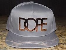 DOPE 24K Gold Logo Gray Snapback Cap NWT