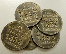 5 Antique Time Check Brass Tags: Marion Steam Shovel; Matched Set (Tool Check)