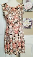 STYLE STALKER FREE LOVE FADED BLUSH GEOMETRIC PRINT SHORT DAY DRESS SIZE 4 NWT