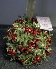 "GANZ Large Kissing Krystals Classic Red Mistletoe Christmas Ornament 10"" Holiday"