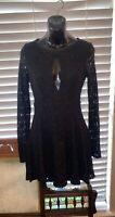 Free People Size Small Black Lace Long Sleeve Dress
