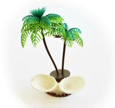"Tropical Hermit Crab Feeder Dish Seashells Double Palm Tree design (6"") Habitat"