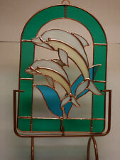 Stained Glass Dolphine Window with stand - SCWS3563