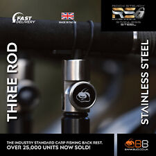 STAINLESS Bank BUG Rock Steady Back Rest V2 for Carp Fishing - THREE ROD PACK