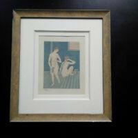 Aquatinte Foujita numérotée gravure 1926 femmes nues au bain curiosa eau-forte
