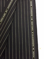 3.5 Metres Navy Chalk Stripe Super 100's Pure Wool  Suit Fabric. By Dugdale Bros
