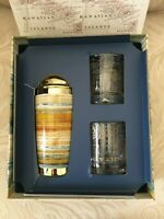 TOMMY BAHAMA 3 PC TREASURE COVE COCKTAIL SET - SHAKER & Two GLASS, Hawaiian NIB