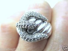 David Yurman Large Buckle Ring with Diamonds in Original Dy Pouch