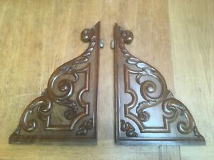 ORIGINAL ANTIQUE VICTORIAN HAND CARVED WALNUT BRACKETS