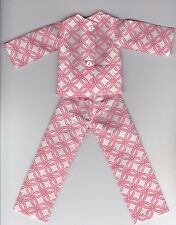 Doll Clothes-Pretty Salmon and White Print Pajamas that fit Barbie-Homemade BP5