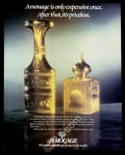 1984 Guy Robert Amouage perfume gold flasks photo vintage print ad
