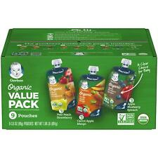 Gerber Organic 2nd Baby Food Value Pack, Pear Peach Strawberry,(Pack of 9)