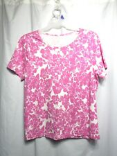 White Stag Top Sz XXL 20 Pink Floral Pull Over Round Neck Short Sleeve Casual