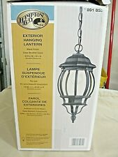 Hampton Bay Exterior Black Hanging Lantern With Beveled Glass New