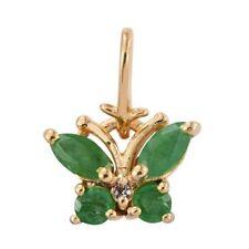 Kagem Zambian Emerald, White Topaz Butterfly Pendant/Charm in Sterling Silver