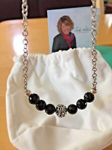 CAROLYN POLLACK Sterling Silver & Black Agate 16-18in Necklace