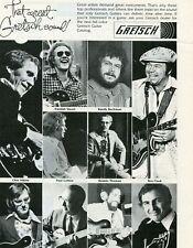 1978 Print Ad of Gretsch Guitars w Chet Atkins, Hamish Stuart, Roy Clark
