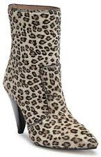 Stuart Weitzman Atomic West Bootie Women's Calf Fur Heel Boots Leopard Size 7