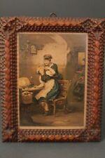 Print Blume-Siebert Wer Is ´S ? Antique Wood Frame Carved Painting Art