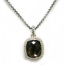 DAVID YURMAN NEW Silver Noblesse 12 x 10mm Smoky Quartz Diamond Necklace