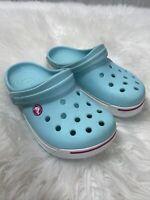 Crocs Crocband Girls Clogs Light Baby Blue Size J 3 White Accent Sandals