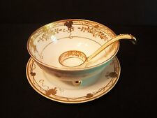Nippon 3 Piece Mayo Bowl Set with Plate and Ladle Gold Trim Green Wreath