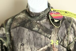 NWT Under Armour Men's camo with yellow Scent Control ColdGear Mock neck shirt M