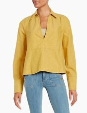 FREE PEOPLE DARK SUNFLOWER Pullover Shirt Blouse Cotton/Linen M NWT $98
