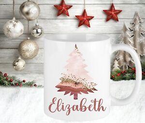 Personalised Pink Christmas Cup Mug Gift Present Secret Santa Mum Sister Gran