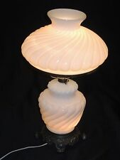 Vintage Hedco Swirl White Enamel Glass Hurricane Parlor Style Table Lamp USA