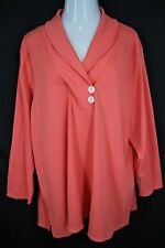 Roamans 3X 30/32W Coral Waffle Thermal Knit Pullover Buttoned Shawl Collar Top
